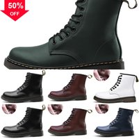 Wholesale doc martin boots resale online - dott classic Martins luxury British ClassicMartins Dr Boots Thick Heel Motorcycle Women Shoes Winter Quality Print Doc designer Leat