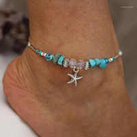 Bohemian Starfish Beads Stone Anklets for Women BOHO Silver Color Chain Bracelet on Leg Beach Ankle Jewelry 2019 NEW Gifts1