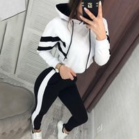 Wholesale waterproof running sets resale online - 2020 Hooded Middle Ridge Training Packages for Women Short Sweaters Broek Pack Stuck Running Set Outfits Mode Sport Past