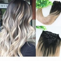 Wholesale balayage hair resale online - 8A gram Clip In Human Hair Extensions Ombre Dark Natural Root To Ash Blonde Balayage Highlights Hairstyle