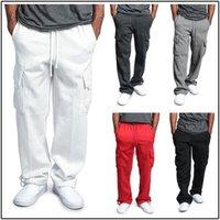 Wholesale legging pockets resale online - Men Pants New Hot Sale Mens Casual Multi pocket Loose Style Straight leg Overalls for Men Clothing