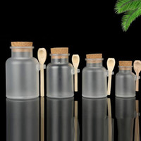Frosted Plastic Cosmetic Bottles Containers with Cork Cap and Spoon Bath Salt Mask Powder Cream Packing Bottles Makeup Storage Jars JXW758