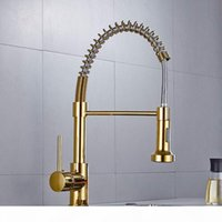 Wholesale polish spring water resale online - Solid Brass Kitchen Faucet Gold Polished Brass Spring Kitchen Sink Faucet Single Hand Modern Hot and Cold Water gold Pull Out