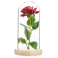 Wholesale wall covers resale online - Romance Eternal Life Flower Glass Cover Beauty and Beast Rose LED Battery Lamp Birthday Valentine s Day present Mother Gifts EWE2956