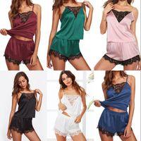 2pcs Set Women Lace Sleepwear Lady Sexy Silk Underwaist Boxers V Neck Shorts Pajama Fashion Adjustable Ultra Thin 6xy G2