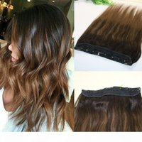 Wholesale balayage hair resale online - One Piece Clip In Human Hair Extensions Clips Per Piece Brazilian Virgin Hair Highlight Ombre Medium Brown Balayage