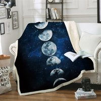 Wholesale new moon bedding resale online - New Design Moon Eclipse Changing Velvet Plush Throw Blanket Galaxy Printed Sherpa Blanket for Couch Landscape Bedding Throw