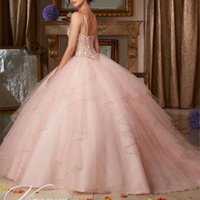 Wholesale vintage dressess for sale - Group buy Hot Pink Quinceanera Dresses Ball Gown Crystals Beaded Ruffles Sweet Dressess Vestido De Anos