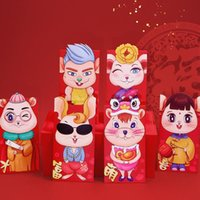 Wholesale chinese red envelopes resale online - 6pcs Handsome Cartoon Chinese Zodiac Mouse Spring Festival Traditional Custom Paper Red Envelopes Money Bag Children Kids Gift sqcSTR