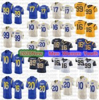 Wholesale faulk jersey resale online - E95 Goff Aaron Donald Los Angeles Ram Football Jersey custom new Van Jefferson Marshall Faulk Jack Youngblood Cam Akers Kurt Warner