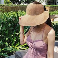 Wholesale hands made hat resale online - Woman s Sun Hats Female Bowknot Visor Caps Hand Made Raffia Straw Summer Cap Casual Shade Hat Empty Top Hat Girls Beach