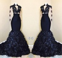 Wholesale chrismas dresses girls resale online - 2021 Black Girls Gorgeous Mermaid Long Sleeves Prom Dresses African High Neck Evening Gowns With Layers Ruffle Skirts BA8173