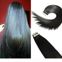 Wholesale taped hair extensions for sale - Group buy Tape in Human Hair Extensions B Natural Color Remy Human Hair Extensions Silk Straight g