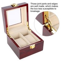 Discount watch case storage organizer High Quality Watch Boxes 2 Grids Wooden Wristwatch Display Piano Lacquer Jewelry Storage Organizer Jewelry Collections Case Gift1