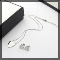Europe America Fashion Jewelry Sets Lady Women Titanium steel Engraved G Initials Heart Pendant Necklace Bracelet Sets 3 Color