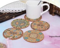 Wholesale natural fiber insulation resale online - Natural Cork Moisture Resistant Round Cup Coasters Drink Coasters Heat Insulation Patterned Pot Holder Mats for Table