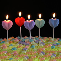 Wholesale shaped birthday cakes resale online - Diamond Love Birthday Candle Creative Heart Shaped Smokeless Cake Candle for Birthday Banquet Proposal Marriage Wedding Party OWD3146