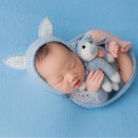 Wholesale doll photo boy for sale - Group buy High Quality Newborn Photography Mohair Hat Doll Props Baby Girl Boy Photo Shoot Posing Cartoon Hat fotografia Accessories