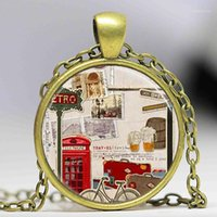Discount pendant necklaces uk Travel pendant necklace Red Phone Booth London England United Kingdom UK art Necklace women men jewelry chain necklaces charm1