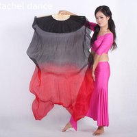 china fan dance 2021 - China Real 100% Silk Oriental Dancing Gradient Fire Fan Belly Dancing Stage Performance Property Dance Fan Multi-Color A pair1
