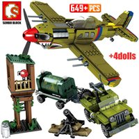 Wholesale helicopter military resale online - SEMBO Military Series Fighter Airplane Model Building Blocks WW2 Mortar City Police Helicopter Bricks Education Kids Toys Q1126