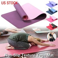 entrenamientos para gimnasio al por mayor-US STOCK, 3-6 Days Delivery 6mm Thick Foam Yoga Mat TPE High Elastic Fitness Exercise Gym Workout Equipment Home Gymnastics Training FY6146