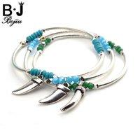 Wholesale tooth bracelets resale online - Bojiu Trendy Bracelet bangles Crystal Beads Wolf Teeth Pendant Silvery Metal Women Bracelets Fashion Gifts New Jewelry BC168
