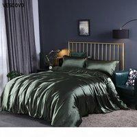 Wholesale silk bedding sets comforters resale online - VESCOVO mulberry silk Bedding Sets bed linen dekbedovertrek queen Bed Fitted Sheet comforter cover sets T200826