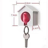 Discount key house 1pc Cute Bird Nest Sparrow House Key Chain Keyring Plastic Whistle Wall Hook Holder1