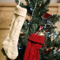 Wholesale personalized christmas stockings resale online - New Personalized knit Christmas Stocking items Blank pet stocks Christmas Holiday Stocks Family Stockings indoor decoration OWE3146