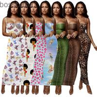 Women Summer Printed Sleeveless Mini Dress Beach Short Spaghetti Strap Dresses 815