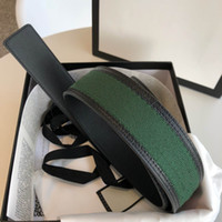 Wholesale green belts for sale - Group buy Hot best quality green and red web with black leather trim men belt with box men designers belts two kinds of bottom leather women belt