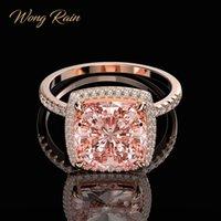 Wholesale morganite rings resale online - Wong Rain Luxury Sterling Silver Created Moissanite Morganite Gemstone Wedding Engagement Ring Fine Jewelry Z1117