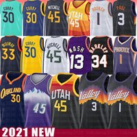 Stephen 30 Curry Devin 1 Booker 33 45 Donovan Wiseman Mitchell Basketball Jersey 13 Chris Steve Paul Nash John Karl Stockton Malone Barkley