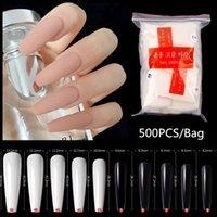 500pcs bag Super Long Ballerina Nails Clear Natural Coffin False Nails Art Tips Ultra Flexible Fake Nails Full Cover Designs Manicure