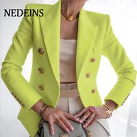 NEDEINS Autumn Blazer Women Double Breasted Blazer Coat Fashion Metal Lion Buttons Solid Color Coats Office Ladies Outfit 201114