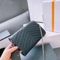 Wholesale Genuine Leather Chain Purse Fashion Clutch Lady Chain Shoulder Bag Cowhide Handbag Presbyopic Card Holder Purse Messenger Women