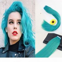 Wholesale Teal Color Seamless Tape in Real Remy Hair Extensions European Virgin Human Hair Skin Weft Hair Extensions Slik Straight Tape on Extensions