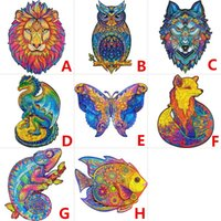 NEW A4 Wooden Jigsaw Puzzles unique animals shape puzzle Creative Gifts for Children educational decompression toys wolf fox dinosaur lion