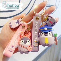Wholesale keychains for kids resale online - Cute Cartoon Penguin Keychains for Backpacks Car Keyring Creative Silicone Porte Cles Kids Gift Chaveiro Keychain Accessories