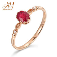 Wholesale ruby roses for sale - Group buy Anillos Yuzuk Simple Sterling Silver Natural Oval Ruby Wedding Commitment Rose Gold Ring Jewelry