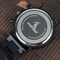 Wholesale mens wooden watches resale online - Bobo Bird Male Watch Mens Watches Luminous Needle Man Watches Modern Quartz Wristwatch Wooden Chronograph Orologio Uomo