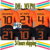Wholesale football shirts holland resale online - 2020 Netherlands soccer jerseys DE JONG WIJNALDUM Holland football kits shirt VIRGIL jersey STROOTMAN MEMPHIS PROMES Men Kids sets