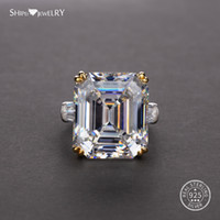 Wholesale sapphire engagement rings for sale - Group buy Shipei Natural Rectangle White Pink Ring Sterling Silver Sapphire Rings for Women Men Wedding Engagement