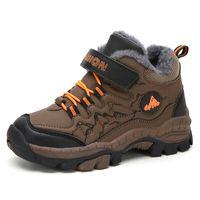 Wholesale children shoes velvet resale online - Kids Shoes Winter Outdoor Hiking Warm Velvet Waterproof Boots TPR Shock Absorption Trekking Boys Children Shoe Running Sneakers Y1117