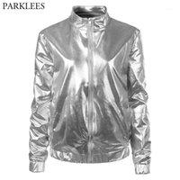 Silver Metallic Coated Bomber Jacket Women Shiny Night Club Baseball Varsity Jacket Womens Zipper Front Mandarin Collar Jackets1