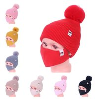 Wholesale sports hats kids resale online - For Kids Winter Warm Beanies Ski Outdoor Girls Knitted Beanie Cap Hats with Face Mask Piece suit Cycling Sport Slouchy Headwear E112306