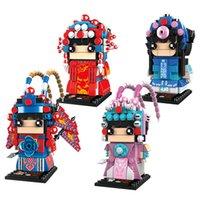 Wholesale brick paint resale online - Female Male role minifig doll Painted face Clown Brickheadz China Peking Opera Building Blocks Square head bricks Toy For Children