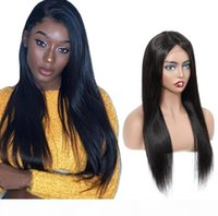 Wholesale fast shipping human hair wigs resale online - New Designer Fashion Long Straight Lace Front Human Hair Wigs Hot Selling Full head Set Remy Brazilian Hair Natural Black Fast Shipping