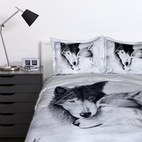 Wholesale wolf duvet covers for sale - Group buy LOVINSUNSHINE Wolf Comforter Bedding Sets Warm Soft Duvet Cover White Animal Print Pillowcases WW00